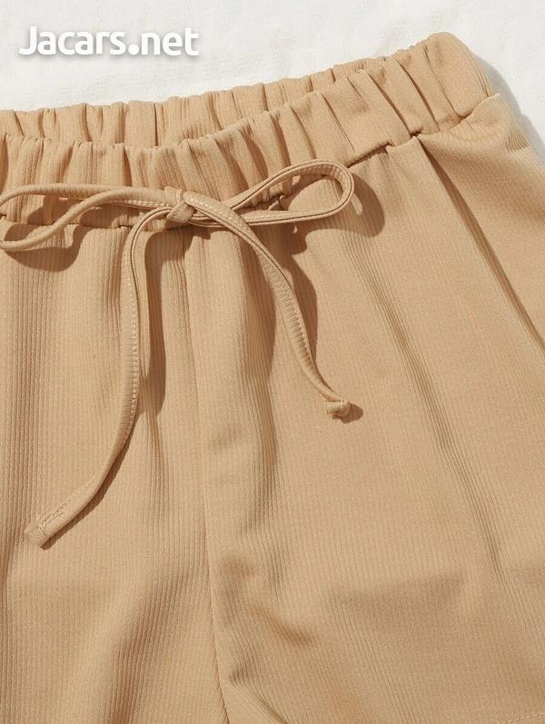 Scoop Neck crop top and Tie Waist Shorts Set-4