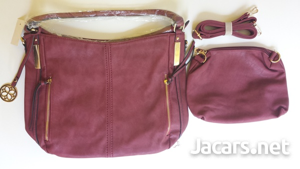 Women's Leather Handbag with Purse and Shoulder Strap for Business Work New-5