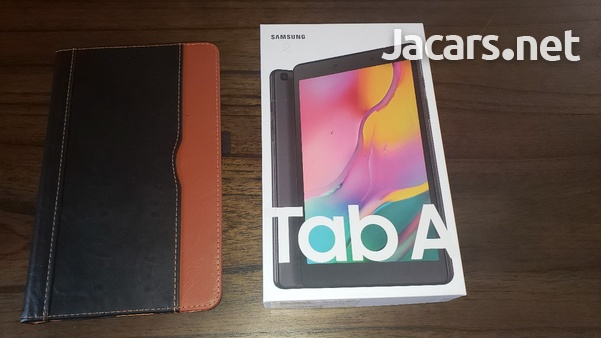 Samsung Tab A 2019 T290 with tempered glass screen protector and leather case-3