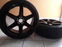 4 Black Rims 20inch and 2 Good Tyres