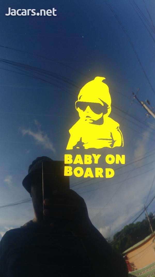 2x Custom 1 Color Vinyl Baby On Board Sticker-1