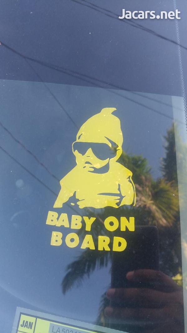 2x Custom 1 Color Vinyl Baby On Board Sticker-2