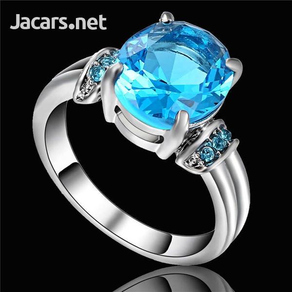 Fashion Women Silver & Blue Sapphire Gemstone Ring Bride Wedding Jewelry Sz 8-3