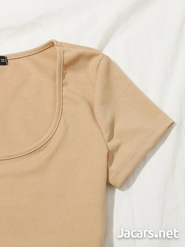 Scoop Neck crop top and Tie Waist Shorts Set-3