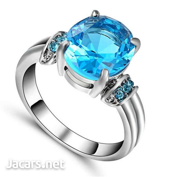 Fashion Women Silver & Blue Sapphire Gemstone Ring Bride Wedding Jewelry Sz 8-1