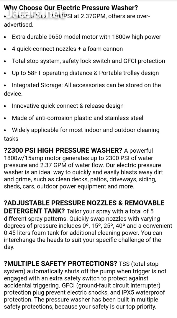 Famistar Max 2300PSI Pressure Washer Electric 1800W High Pressure Power Washer C-7