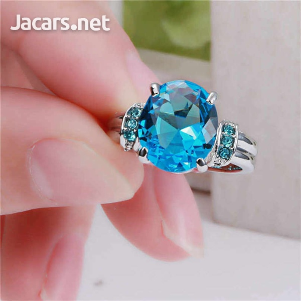 Fashion Women Silver & Blue Sapphire Gemstone Ring Bride Wedding Jewelry Sz 8-2