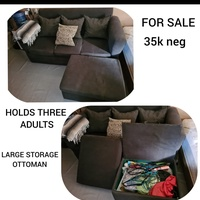 Large and Comfortable Couch with Space Saving Ottoman