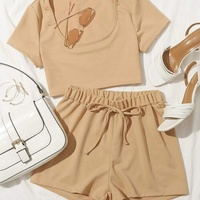 Scoop Neck crop top and Tie Waist Shorts Set