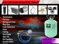 A/c parts, refrigerant gas per lb etc