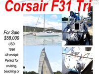 Sailing Trimaran with Trailer, easy towing