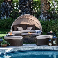 Bali Lounger Patio Furniture Outdoor Daybed, Brown Wicker Furniture