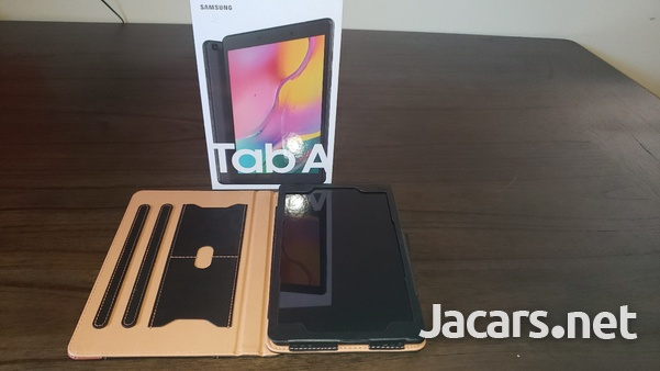 Samsung Tab A 2019 T290 with tempered glass screen protector and leather case-2