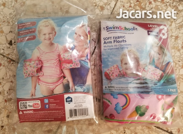 SwimSchool Girls Soft Fabric Arm Floats, Small/Medium