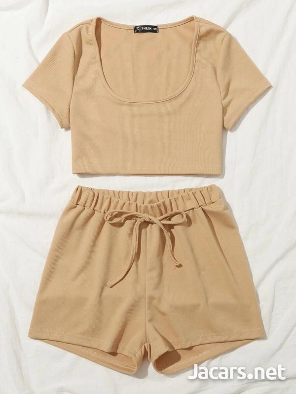 Scoop Neck crop top and Tie Waist Shorts Set-2