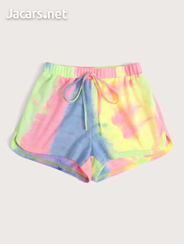 Tie and Dye Knot Waist Shorts-2