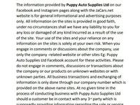 Puppy Auto Supplies ltd Disclaimer