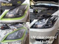 UV treatment vehicle head lamp restoration service
