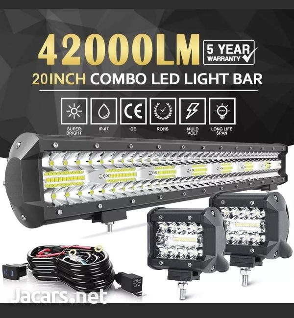 20inch Tri Row 420W LED Work Light Bar Flood-5