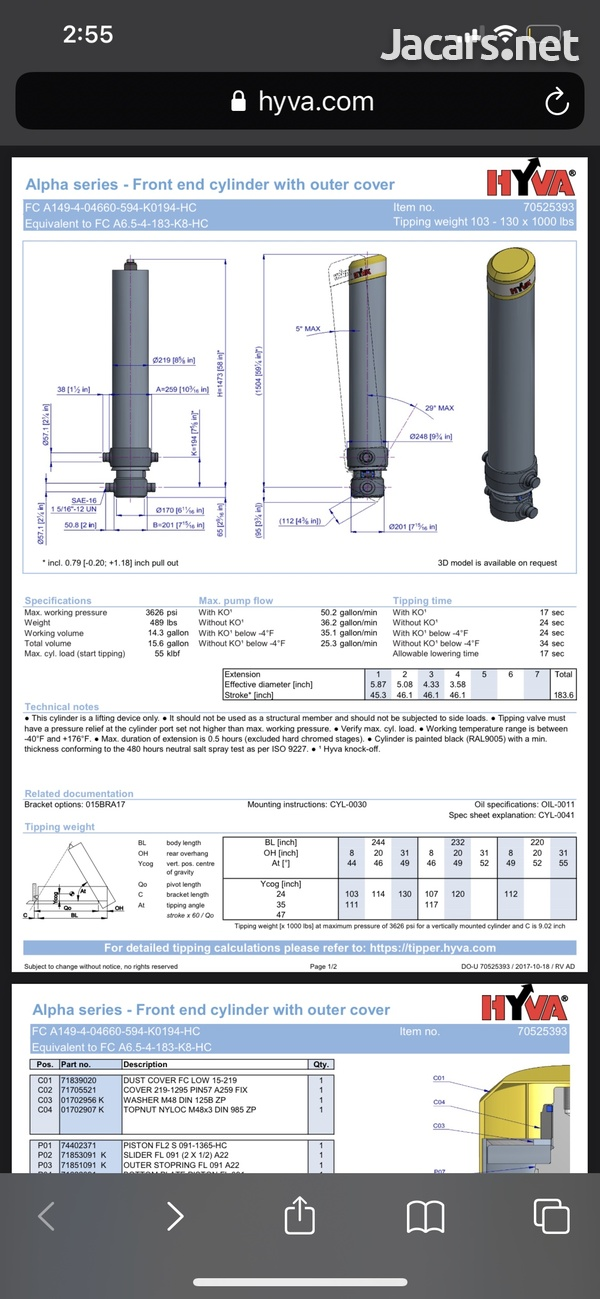 Genuine Hyva Alpha Series FC Dump Body Cylinder FC 183-5-5