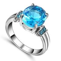 Fashion Women Silver White Sapphire Heart Ring Bride Wedding Jewelry Sz 8