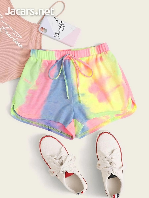 Tie and Dye Knot Waist Shorts-1
