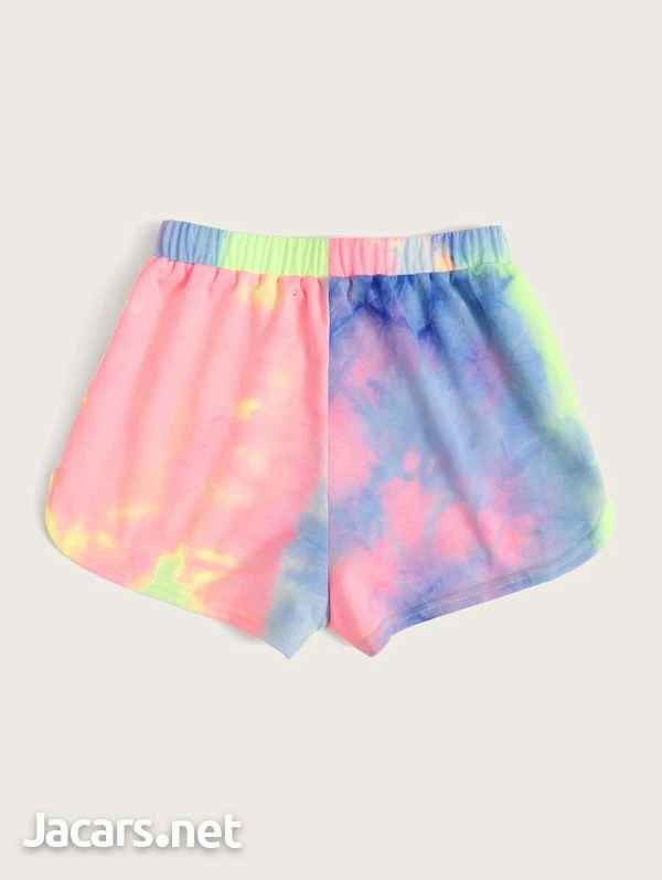 Tie and Dye Knot Waist Shorts-3