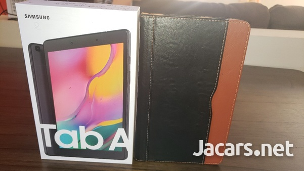 Samsung Tab A 2019 T290 with tempered glass screen protector and leather case-1