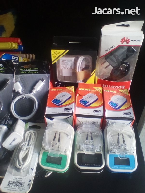 chargers, USB cable, earphones, power bank